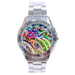 Colorful Bicycles In A Row Stainless Steel Analogue Watch