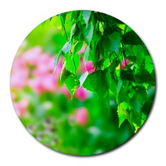 Green Birch Leaves, Pink Flowers Round Mousepads