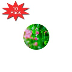 Green Birch Leaves, Pink Flowers 1  Mini Buttons (10 Pack)