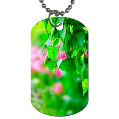 Green Birch Leaves, Pink Flowers Dog Tag (two Sides) by FunnyCow
