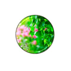 Green Birch Leaves, Pink Flowers Hat Clip Ball Marker (4 Pack) by FunnyCow