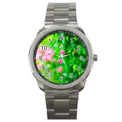 Green Birch Leaves, Pink Flowers Sport Metal Watch by FunnyCow