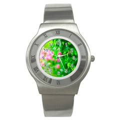 Green Birch Leaves, Pink Flowers Stainless Steel Watch by FunnyCow