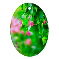Green Birch Leaves, Pink Flowers Oval Ornament (two Sides)