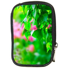 Green Birch Leaves, Pink Flowers Compact Camera Cases