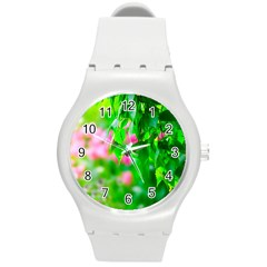 Green Birch Leaves, Pink Flowers Round Plastic Sport Watch (m) by FunnyCow