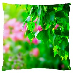 Green Birch Leaves, Pink Flowers Large Cushion Case (one Side) by FunnyCow