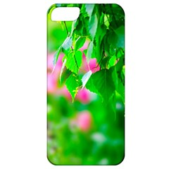 Green Birch Leaves, Pink Flowers Apple Iphone 5 Classic Hardshell Case by FunnyCow