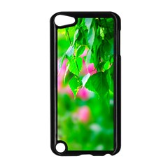 Green Birch Leaves, Pink Flowers Apple Ipod Touch 5 Case (black) by FunnyCow