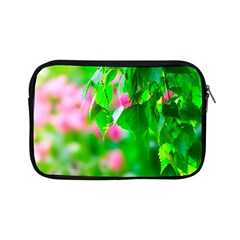 Green Birch Leaves, Pink Flowers Apple Ipad Mini Zipper Cases by FunnyCow