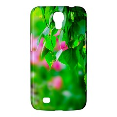 Green Birch Leaves, Pink Flowers Samsung Galaxy Mega 6 3  I9200 Hardshell Case by FunnyCow