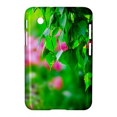 Green Birch Leaves, Pink Flowers Samsung Galaxy Tab 2 (7 ) P3100 Hardshell Case  by FunnyCow