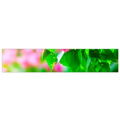 Green Birch Leaves, Pink Flowers Small Flano Scarf