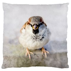 Do Not Mess With Sparrows Large Cushion Case (one Side) by FunnyCow
