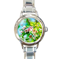 Crab Apple Flowers Round Italian Charm Watch by FunnyCow