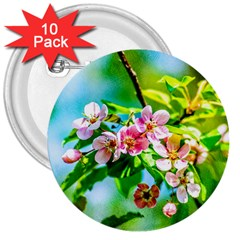 Crab Apple Flowers 3  Buttons (10 Pack)