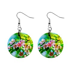 Crab Apple Flowers Mini Button Earrings by FunnyCow