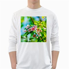 Crab Apple Flowers White Long Sleeve T Shirts