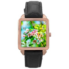 Crab Apple Flowers Rose Gold Leather Watch  by FunnyCow