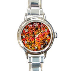 Orange, Yellow Cotoneaster Leaves In Autumn Round Italian Charm Watch
