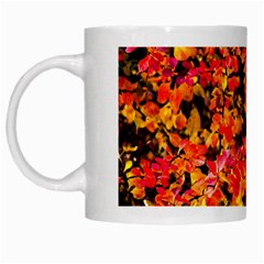 Orange, Yellow Cotoneaster Leaves In Autumn White Mugs by FunnyCow
