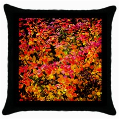 Orange, Yellow Cotoneaster Leaves In Autumn Throw Pillow Case (black) by FunnyCow