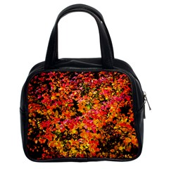 Orange, Yellow Cotoneaster Leaves In Autumn Classic Handbags (2 Sides) by FunnyCow