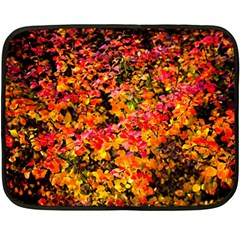 Orange, Yellow Cotoneaster Leaves In Autumn Double Sided Fleece Blanket (mini)  by FunnyCow