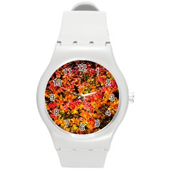 Orange, Yellow Cotoneaster Leaves In Autumn Round Plastic Sport Watch (m) by FunnyCow