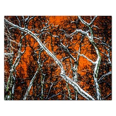 Red Night Of Winter Rectangular Jigsaw Puzzl