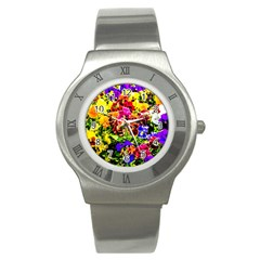 Viola Tricolor Flowers Stainless Steel Watch by FunnyCow
