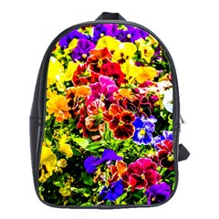 Viola Tricolor Flowers School Bag (large)