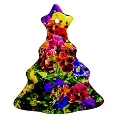 Viola Tricolor Flowers Christmas Tree Ornament (two Sides)