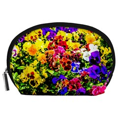 Viola Tricolor Flowers Accessory Pouches (large)  by FunnyCow