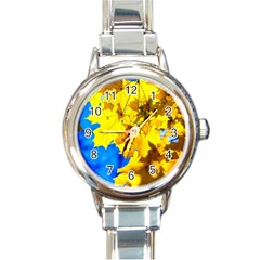 Yellow Maple Leaves Round Italian Charm Watch by FunnyCow