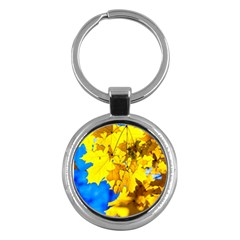 Yellow Maple Leaves Key Chains (round)  by FunnyCow