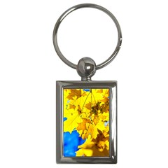 Yellow Maple Leaves Key Chains (rectangle)  by FunnyCow