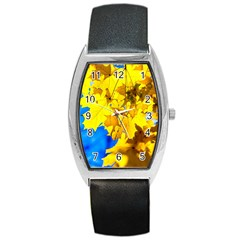 Yellow Maple Leaves Barrel Style Metal Watch by FunnyCow