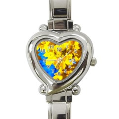 Yellow Maple Leaves Heart Italian Charm Watch by FunnyCow
