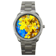 Yellow Maple Leaves Sport Metal Watch