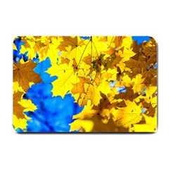 Yellow Maple Leaves Small Doormat  by FunnyCow