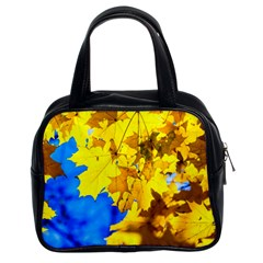 Yellow Maple Leaves Classic Handbags (2 Sides) by FunnyCow