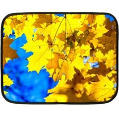 Yellow Maple Leaves Double Sided Fleece Blanket (mini)