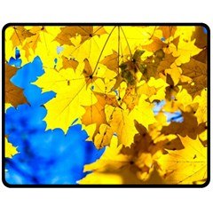 Yellow Maple Leaves Fleece Blanket (medium)  by FunnyCow