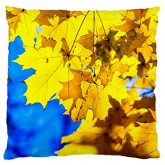 Yellow Maple Leaves Large Cushion Case (two Sides) by FunnyCow