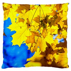 Yellow Maple Leaves Large Flano Cushion Case (two Sides) by FunnyCow