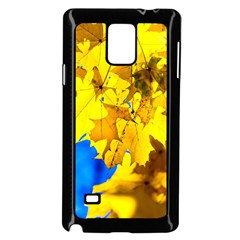 Yellow Maple Leaves Samsung Galaxy Note 4 Case (black) by FunnyCow
