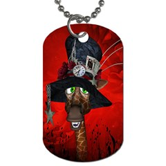 Funny, Cute Giraffe With Cool Hat Dog Tag (two Sides)