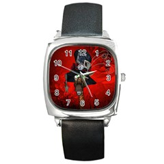 Funny, Cute Giraffe With Cool Hat Square Metal Watch