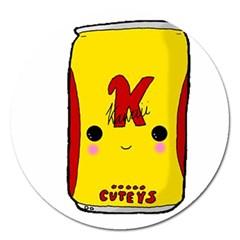 Kawaii Cute Tennants Lager Can Magnet 5  (round) by CuteKawaii1982